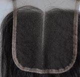 Отбеленная середина/Free/3-Part завязывает волос Lbh272 волны бразильского шнурка закрытия верхней части шнурка волос девственницы швейцарского Unprocessed свободные