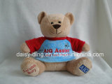 Urso da peluche do sorriso com t-shirt e bordado