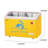Refrigerador do indicador do gelado de porta de vidro de deslizamento da curva