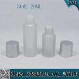 бутылка матированного стекла 30ml 20ml для эфирного масла с штейновой серебряной крышкой