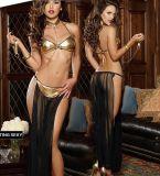 Pyjamas érotiques sexy adultes de vêtements de nuit de femmes de satin de 2 parties