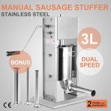 De professionele 3L Maker van de Salami van het Roestvrij staal van de Rang van Voedsel 304 van Stuffer van de Vuller van de Worst Verticale--4 pijpen & 2 Snelheden