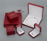 Самый лучший комплект коробки ювелирных изделий PU красного цвета качества кожаный