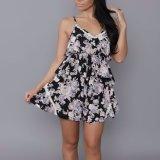 Form-Frauen-Freizeit beiläufiges gedrucktes Chiffon- V-Stutzen Overall-Kleid
