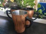 Caneca de café de madeira do aço inoxidável da parede do dobro da grão da classe do FDA com punho