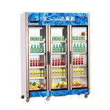 熱い販売の対外開放の直立した飲料のクーラーの3ドアのショーケース