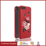 Stickerei 2017 genähter Rosen-Blumen-dünner Telefon-Kasten für iPhone