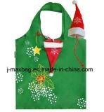Многоразовый мешок, складной Jingle колокол Xmas с сатинировкой для промотирования покупкы, украшением