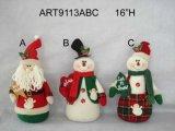 """la """" Navidad decoración casera floral de Santa de H 7 y del muñeco de nieve, 3 Asst-"""