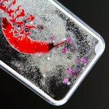 هاتف حالة أشجار ريش تلألؤ سائل زهرة رمز [تبو] حالة لأنّ [إيفون] 6 [6س] فعليّة