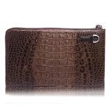 Pochette véritable de course de Wristlet de cuir de crocodile de sac d'Evenlope d'embrayage d'hommes
