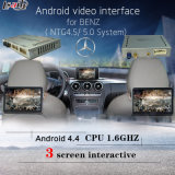 L'interfaccia Android di controllo Navigation+Video dello schermo di tocco per il video 2012-2014 del poggiacapo di sostegno del benz C/E/a/B/Ml/Glk (NTG-4.5/5.0) video contemporaneamente