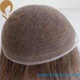Toupee indiano do cabelo do laço francês invisível dos nós para homens