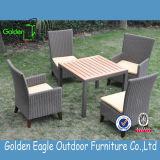 [رتّن] شعبيّة خارجيّ يتعشّى مجموعة مع طاولة بلاستيكيّة خشبيّة