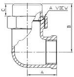 Локоть соединения штуцера трубы нержавеющей стали bw-F 90 градусов