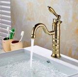 Punho da torneira do banheiro do Faucet da bacia da pintura do ouro de Flg único