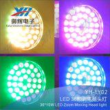 LED 36PCS 8W 4 en 1 luz principal móvil de la etapa del zoom