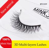 Pestañas falsas de los latigazos 3D del visión de la piel hecha a mano de múltiples capas lujosa del pelo