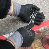 Coton et gant fonctionnant tricoté par Spandex avec des nitriles de mousse et pointillage sur la paume (N1614)