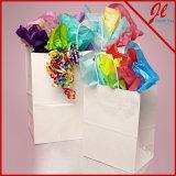 Bolsas de papel blancas blancas de las compras de Kraft de los bolsos de compras del lustre