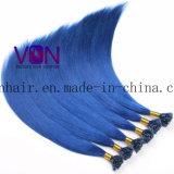 O cabelo brasileiro azul U-Derruba extensões do cabelo humano com preço de grosso