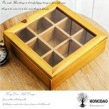 Подарка логоса Hongdao коробка изготовленный на заказ деревянного упаковывая с _E отсеков стеклянным верхним оптовым