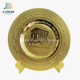 La lega del fornitore della Cina che lancia il metallo lucido dell'oro commemora il piatto
