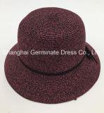 PUの革王冠バンド(Sh060)が付いている方法女性のペーパー麦わら帽子の広い縁