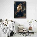 Pintura al óleo al por mayor de la decoración de la alta calidad, pintura casera de la decoración, pintura del arte (madre joven que mira en su niño)