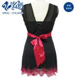 Kleid V-Stutzen Spitze der Frauen mit Kontrast-Taillen-Band
