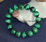 Pulsera de perlas redondas de ojo de tigre azul verde