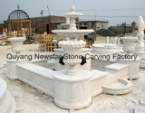 Schnitzender Skulptur-Wasser-Merkmals-Marmor-Steinbrunnen mit Pflanzer-Potenziometer