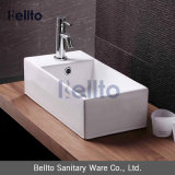 Pequeño fregadero rectangular de la tapa de la vanidad, lavabo de la cabina, fregadero de la porcelana