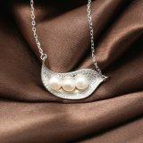En forma de hoja 925 creativo de la manera Collar de plata de ley de agua dulce naturales collar de perlas mujeres joyería fina