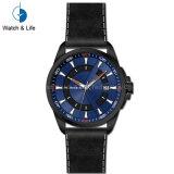 Relógio de pulso dos homens genuínos clássicos da cinta de couro de aço inoxidável