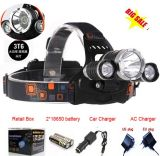 3 Head CREE T6 LED Rechargeable Headlamp