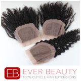 Fermeture bouclée de bonne qualité de lacet de cheveux humains de Vierge