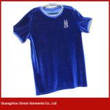 Kleding Van uitstekende kwaliteit van de T-shirt van het Fluweel van de Prijs van de Manier van het Ontwerp van de douane de Goedkope (R169)