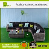 Jardín al aire libre Muebles de mimbre de mimbre para patio Sofá de esquina Juego de salón seccional