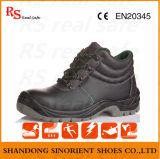 Sapatas de trabalho de couro lisas das sapatas de segurança do corte do meio (SNF5249)