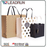 Brown Kraft Print Paper Shopping Gift Hand Promotional revestido Art Paper Carrier Cosmetic Jewelry Packing Bag (F89A)