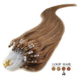 6A Virgin 인도 Remy Silk Straight Micro Loop Ring Hair Extensions