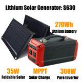 El panel solar solar 35W del generador 300W del litio del sistema de la apagado-Red