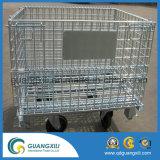 Gaiola dobrável do armazenamento do rolamento do recipiente do fio com 4 rodas