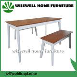灰の2つのベンチ(W-DF-0638)が付いている木製のダイニングテーブルの家具