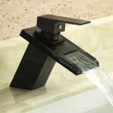 Kugel Black Solid Brass Square Shape Waterfall Single Handle Ein Hole Hot und Cold Water Mono Basin Mixer Faucet Taps