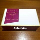Rectángulo de regalo de papel cosmético púrpura del embalaje de la alta calidad con el papel de la mantequilla