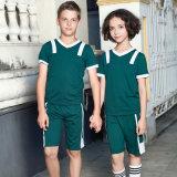 夏の安い学生服の緑のポロシャツ様式