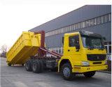 HOWO 6X4 Camión de basura con rodillo de brazo con caja de cambios de 10 velocidades