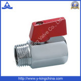 Mini robinet à tournant sphérique en laiton plaqué par chrome fileté par FM (YD-1037)